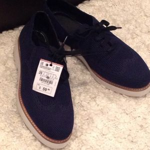 NWT ZARA BLUE MESH COVERED OXFORDS/LOAFERS
